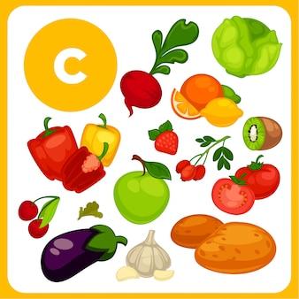 Cartoon voedsel met vitamine e.