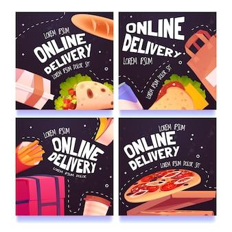 Cartoon voedsel online bezorging social media posts set