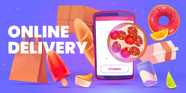 Cartoon voedsel online levering achtergrond