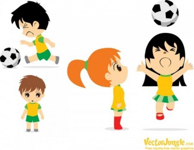 Cartoon voetbal voetballers