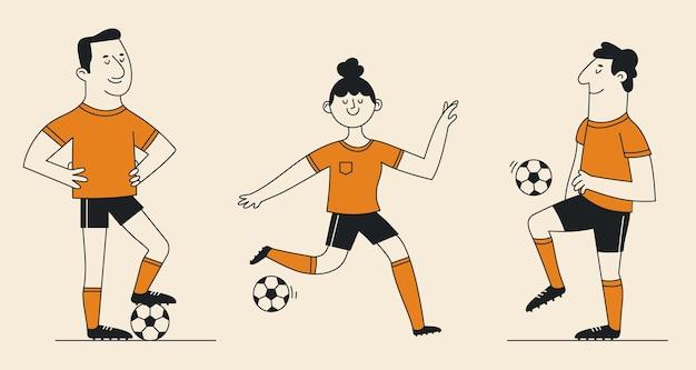 Cartoon voetbalspelers collectie