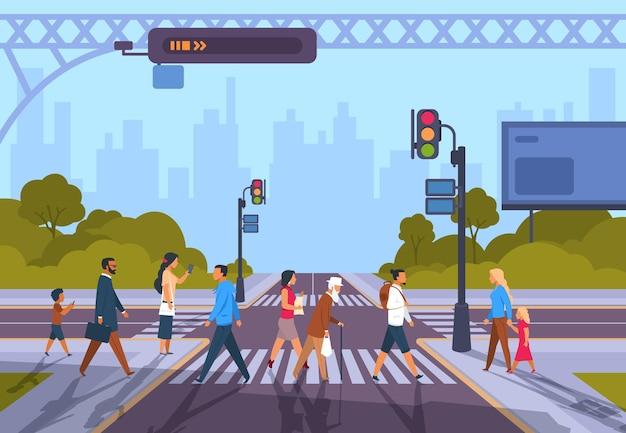Cartoon voetgangers. stadszebrapad met diverse mensen en geen verkeer, stedelijk stadsgezicht met mensen die zich haasten op het werk