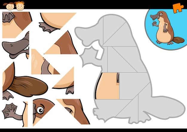 Cartoon vogelbekdier puzzel spel