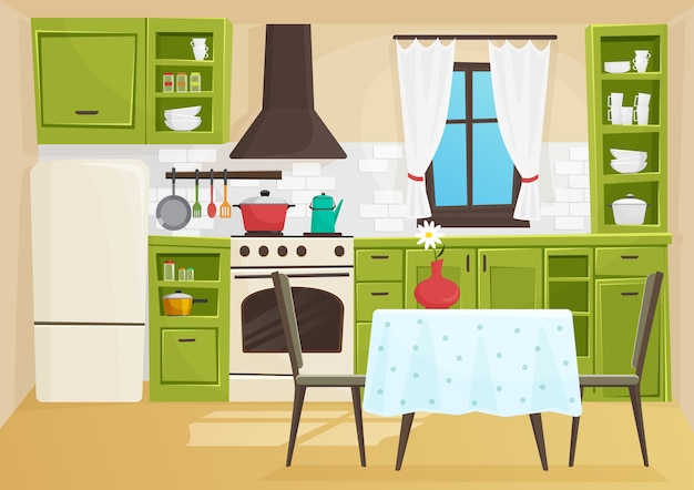 Cartoon volumetrische illustratie van vintage retro keuken interieur