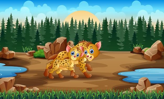 Cartoon volwassen hyena en welp hyena in de dierentuin