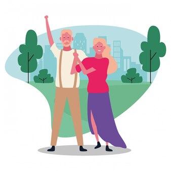 Cartoon volwassen paar, kleurrijk ontwerp