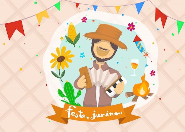 Cartoon voor festa junina dorpsfeest in het latijn