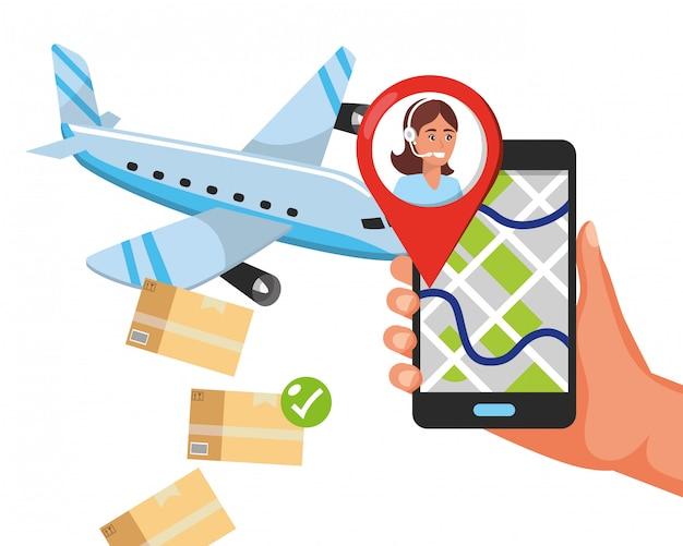 Cartoon voor klantenondersteuning, logistieke dienst