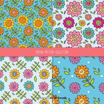 Cartoon voorjaar bloemmotief set