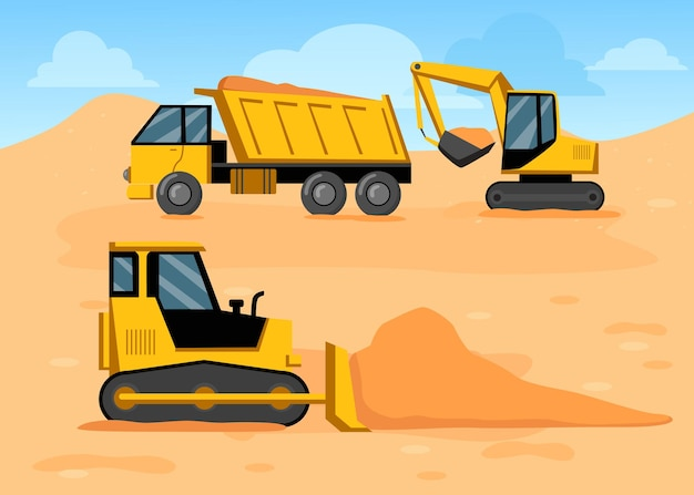 Cartoon vrachtwagen, graafmachine en bulldozer op bouwplaats