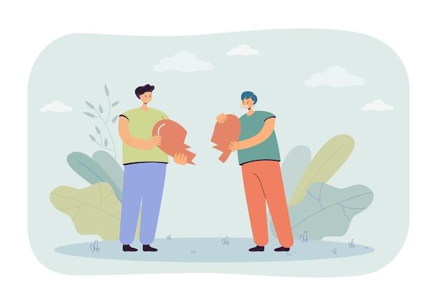 Cartoon vriend en vriendin houden twee harten vast