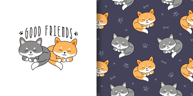 Cartoon vriendelijke kat naadloze patroon