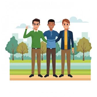 Cartoon vrienden mannen in het park