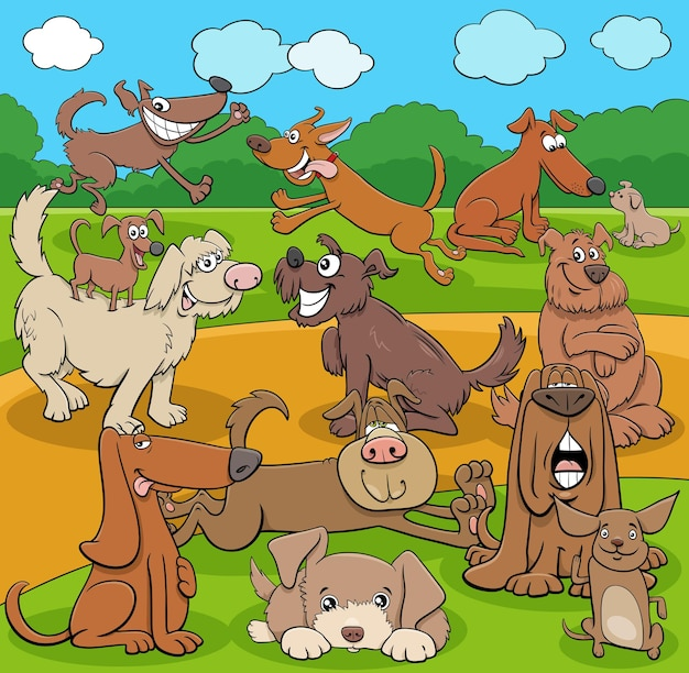 Cartoon vrolijke honden en puppy's grappige karakters groep