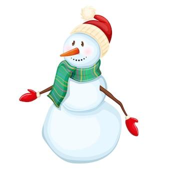 Cartoon vrolijke kerstmissneeuwman op een witte achtergrond