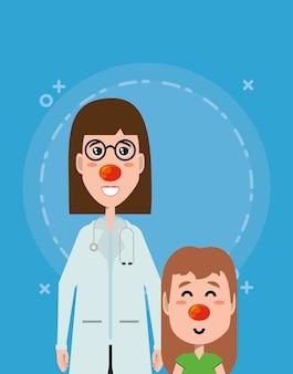 Cartoon vrouw arts en meisje met rode neuzen
