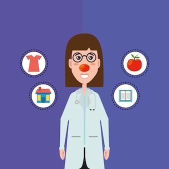 Cartoon vrouw arts met rode neus en bijbehorende pictogrammen
