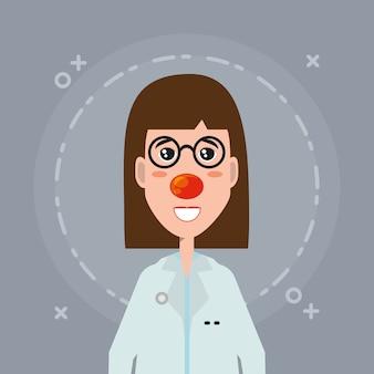 Cartoon vrouw arts met rode neus