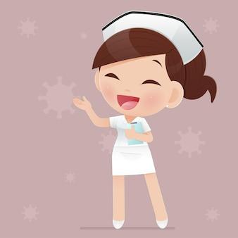 Cartoon vrouw arts of verpleegster in wit uniform op bruine achtergrond