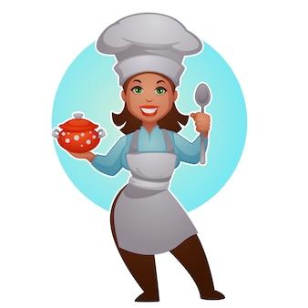Cartoon vrouw chef-kok, vector proffessional dame voor uw mascotte