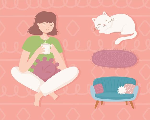 Cartoon vrouw comfortabel thuis