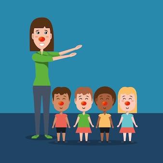 Cartoon vrouw en kinderen met rode neuzen