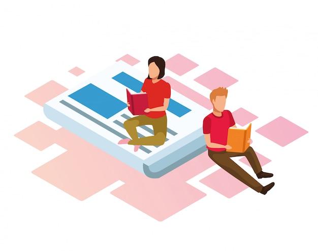 Cartoon vrouw en man boeken lezen zittend op krant op wit