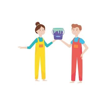 Cartoon vrouw en man met een verf kan op witte achtergrond