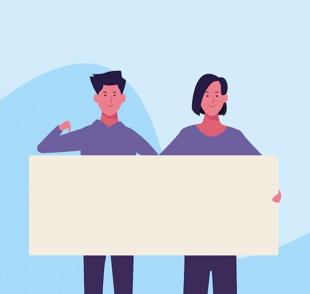 Cartoon vrouw en man met lege plakkaat