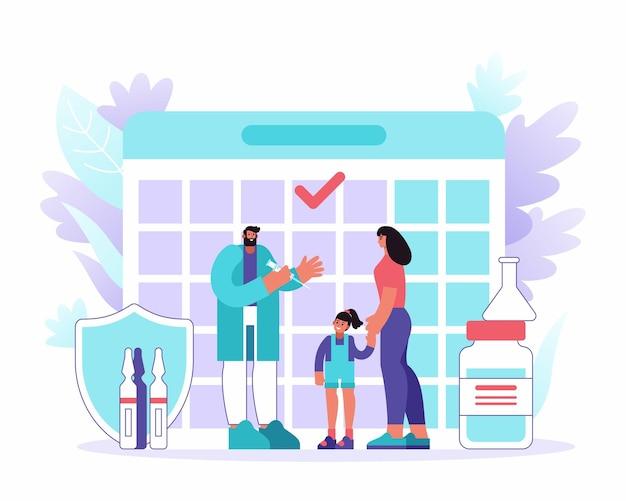 Cartoon vrouw en meisje mannelijke arts met spuit bezoeken tijdens vaccinatie tegen kalender in het ziekenhuis. vaccinatieprogramma. vector platte illustratie