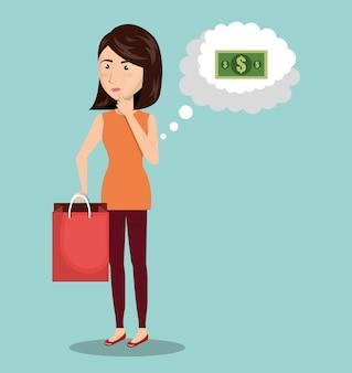 Cartoon vrouw geld e-commerce geïsoleerd ontwerp