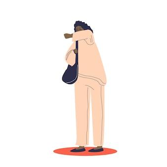 Cartoon vrouw hoest en bedek gezicht met elleboog illustratie