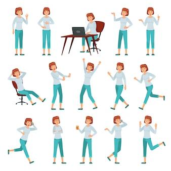 Cartoon vrouw in casual outfit. jonge vrouwelijke personage acties vormt, wandelende gelukkige vrouw en vrouwen levensstijl vector illustratie set
