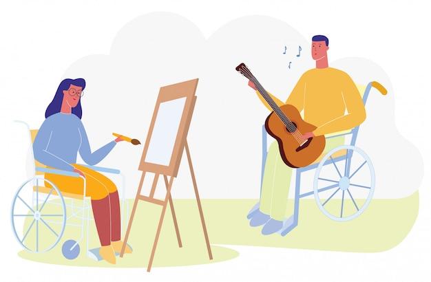Cartoon vrouw in rolstoel tekenen portret man zingen