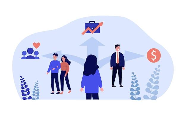 Cartoon vrouw kiezen tussen relaties, werk en geld. vrouwelijke staande op kruispunten platte vectorillustratie. keuze, liefde, carrière, financiënconcept voor banner, websiteontwerp of bestemmingspagina