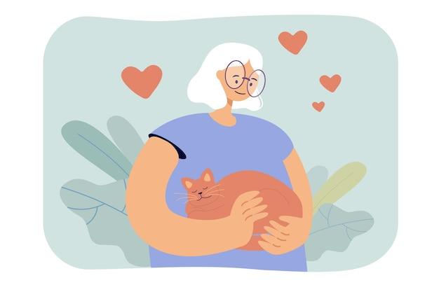 Cartoon vrouw knuffelen kat liefdevol. vlakke afbeelding
