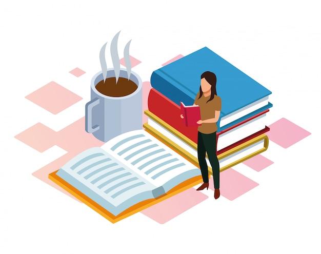 Cartoon vrouw lezen met boeken en hete koffiemok rond op wit