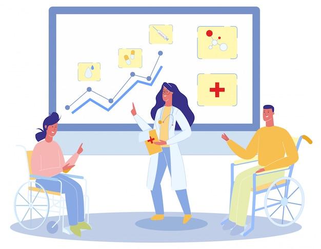 Cartoon vrouw man in rolstoel praat met de therapeut