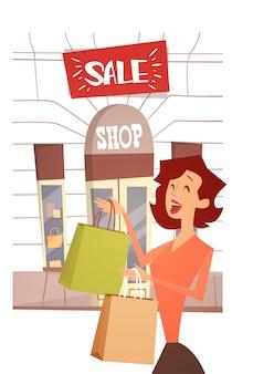 Cartoon vrouw met boodschappentas grote verkoop banner retial store buitenkant