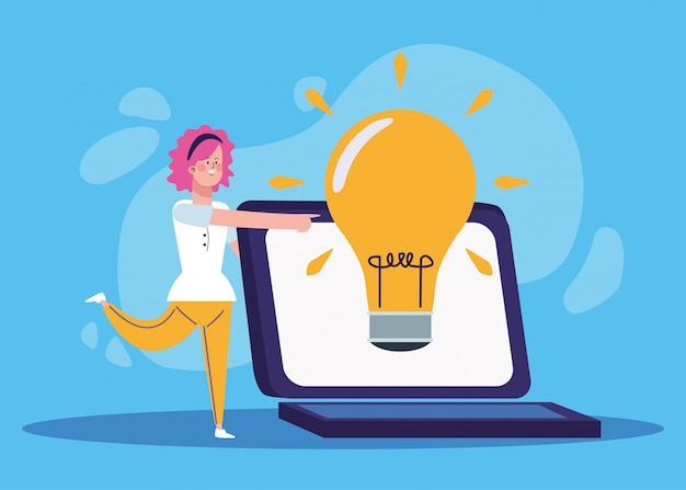 Cartoon vrouw met grote laptopcomputer en lamp
