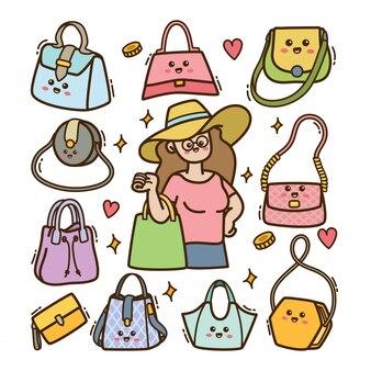 Cartoon vrouw met handtas in kawaii doodle illustratie