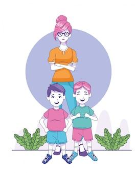 Cartoon vrouw met kleine jongens permanent