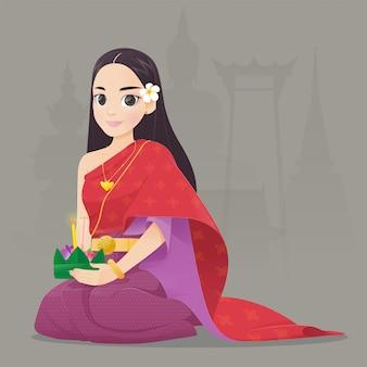 Cartoon vrouw met loy krathong festival