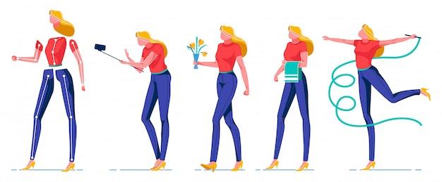 Cartoon vrouw met objecten, dingen plat te doen.