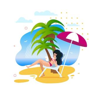 Cartoon vrouw met rust langs onder palmen