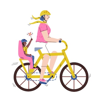Cartoon vrouw met volwassen fiets met kind in baby passagiersstoel