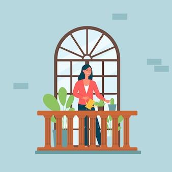 Cartoon vrouw op balkon met gebogen raam drenken kamerplanten