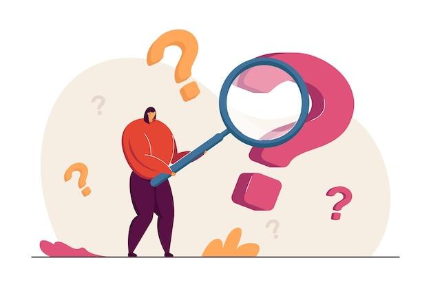 Cartoon vrouw op zoek naar antwoorden op vragen platte vectorillustratie