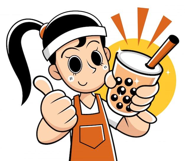 Cartoon vrouw presenteren bubble thee