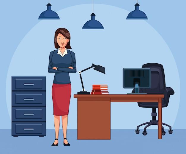 Cartoon vrouw secretaresse op kantoor